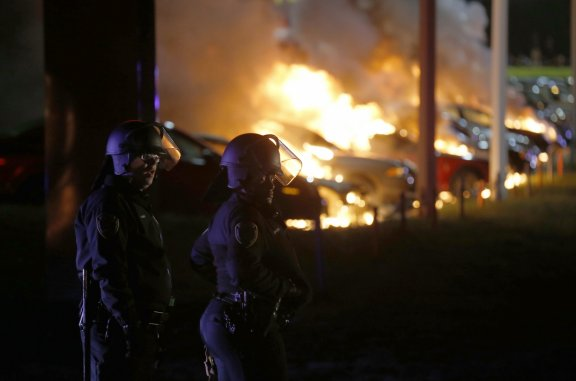 Ferguson Protests Car set on fire