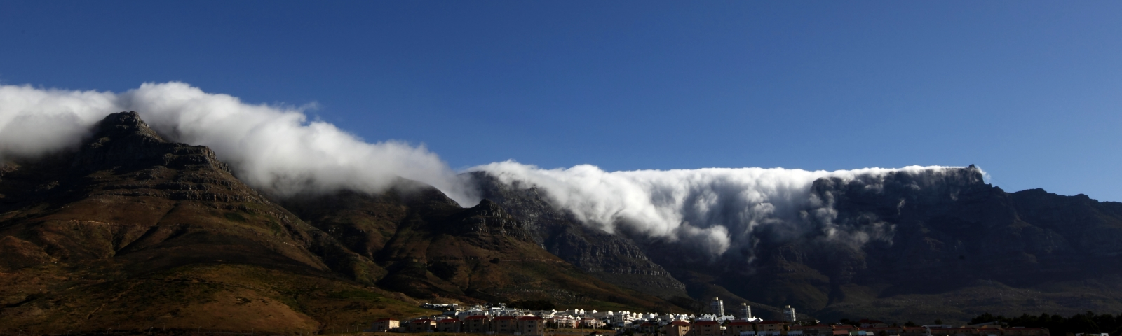 Clouds roll over Table Mountain outside Cape Town