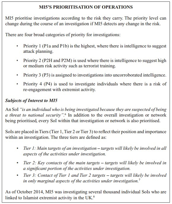 MI5 prioritisation of operations