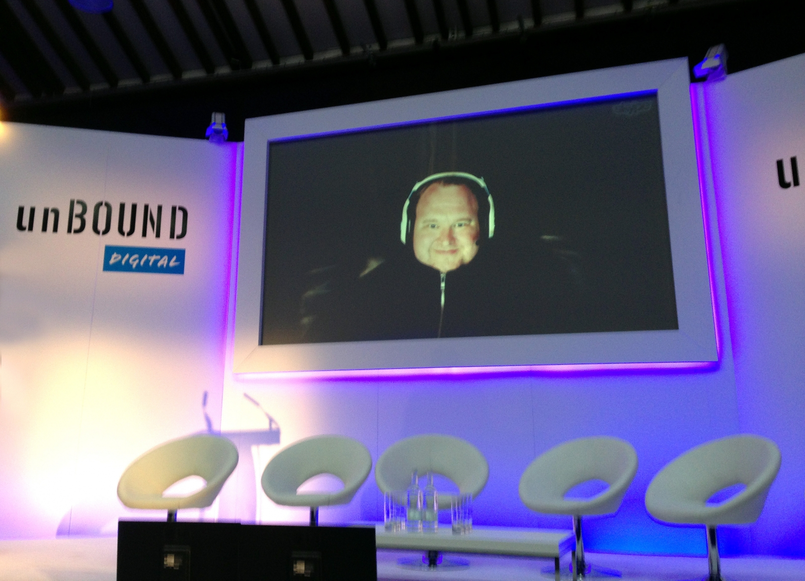 Kim Dotcom, speaking live via video link at the Unbound Digital conference in London today