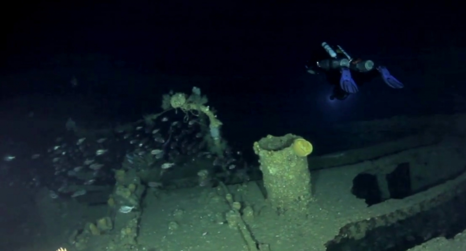 Divers explore the shipwreck of the SS Ventnor near Whangarei in New Zealand