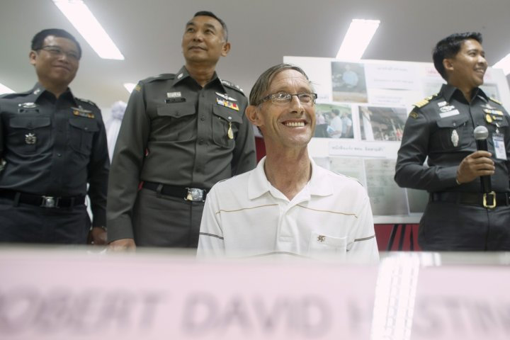 Suspected paedophile Robert Hastings cracks jokes with Thai police after his arrest over sex abuse claims