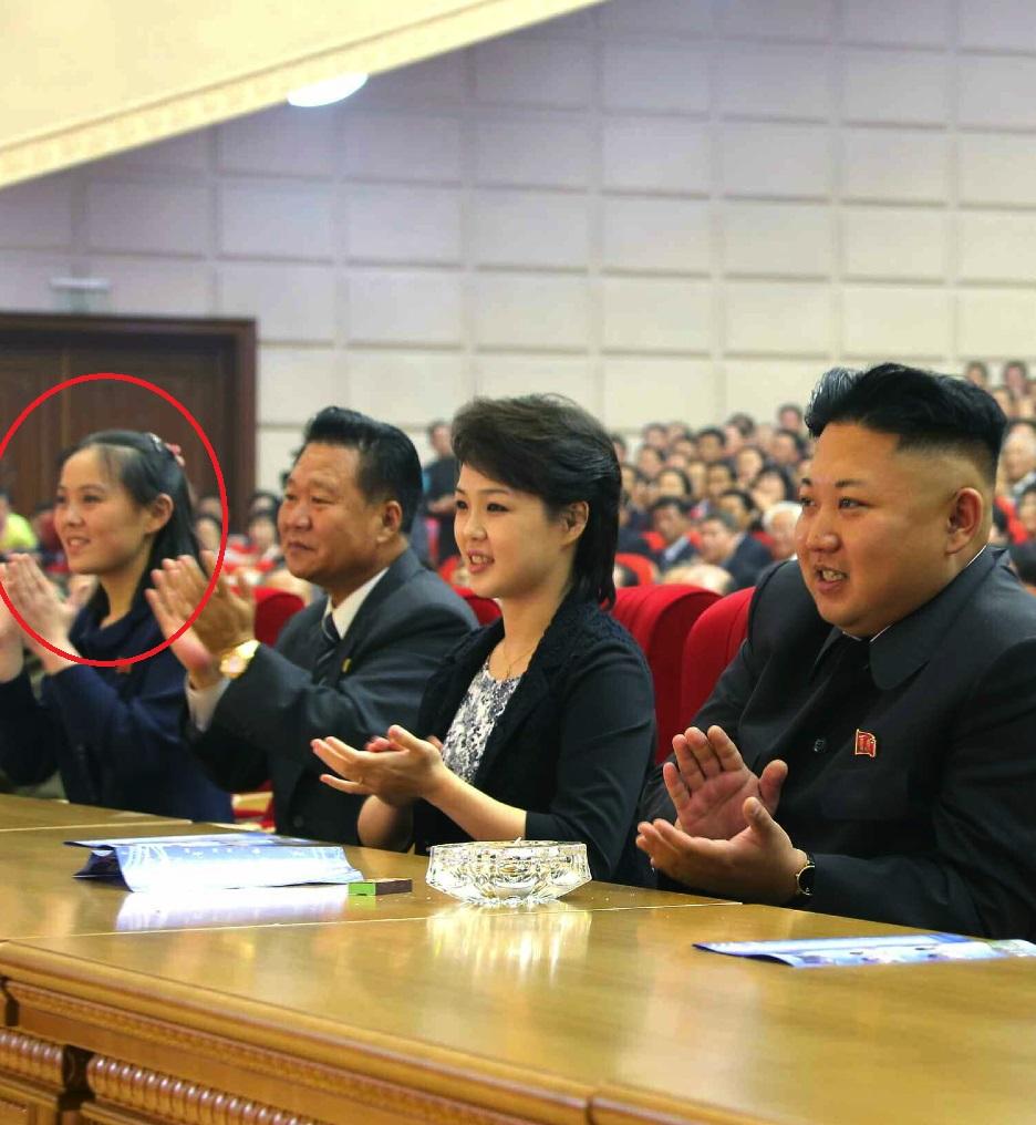 Kim Jong Un applauds during the Moranbong Band concert. Also in attendance are Kim Yo Jong (1st L), Choe Ryong Hae (2nd L), Ri Sol Ju (3rd (L), VMar Hwang Pyong So (2nd R) and Kim Ki Nam (right)