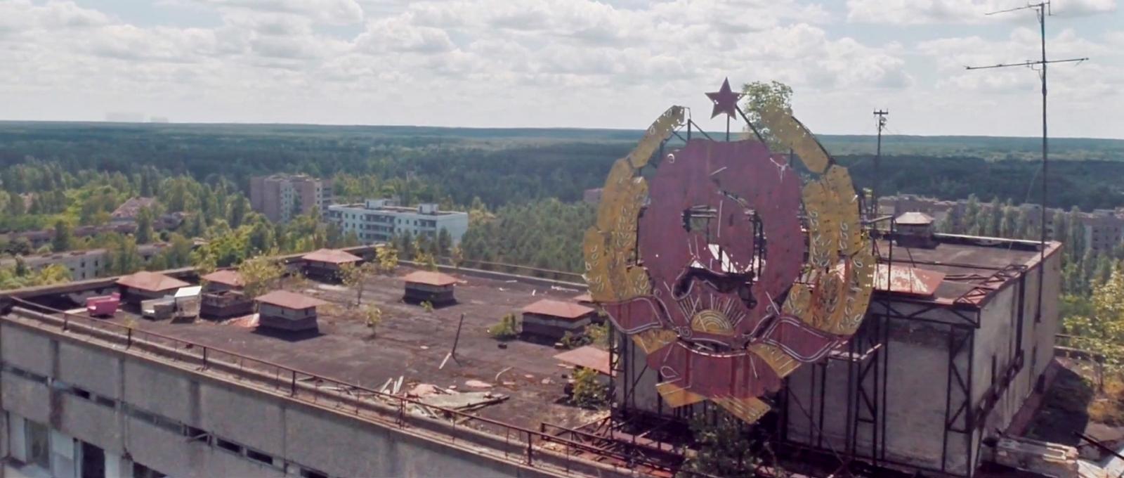 Soviet billboard on a building in the city of Pripyat