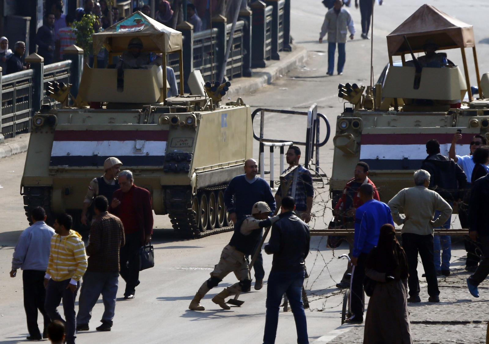 Tanks prepared after Mubarak acquitted