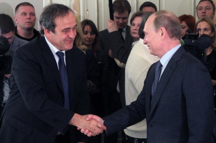 Michel Platini and Vladimir Putin