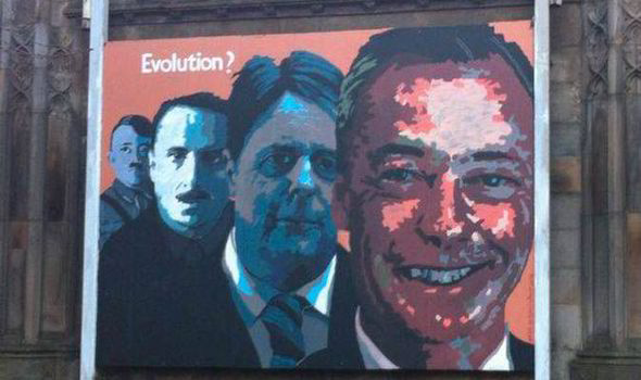 Ukip angry at poster linking Nigel Farage to Adolf Hitler, Oswald Mosley and Nick Griffin