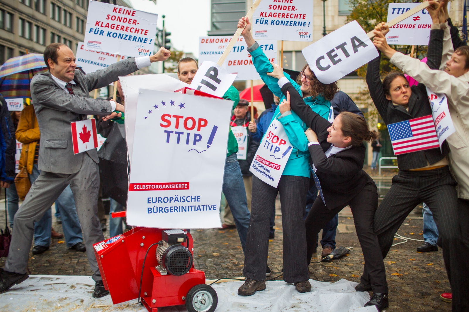 Activists protest against planned trade pacts; TTIP (Transatlantic Trade and Investment Partnership) and CETA (Comprehensive Economic and Trade Agreement) with the U.S. and Canada, in Berlin October 11, 2014