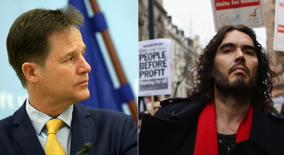Nick Clegg (left) and Russell Brand share drugs wish in common, said deputy Prime Minister