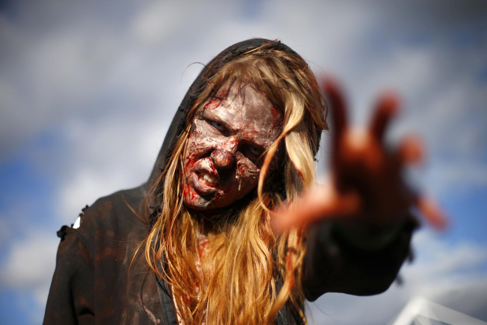 Walking Dead-esque 'zombie' protestors demand an end to Russian propaganda on Ukraine TV