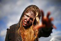 Walking Dead-esque \'zombie\' protestors demand an end to Russian propaganda on Ukraine TV