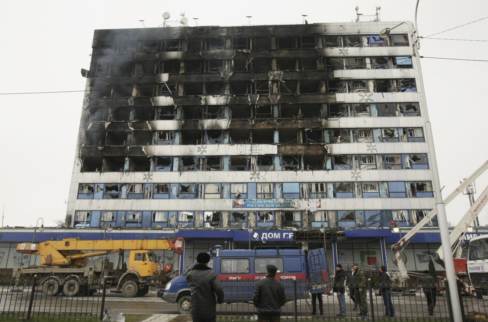The burnt exterior of the Press House, a local media agency, is seen in the Chechen capital Grozny