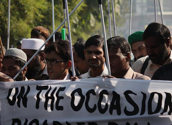 Pakistan blind men protest police