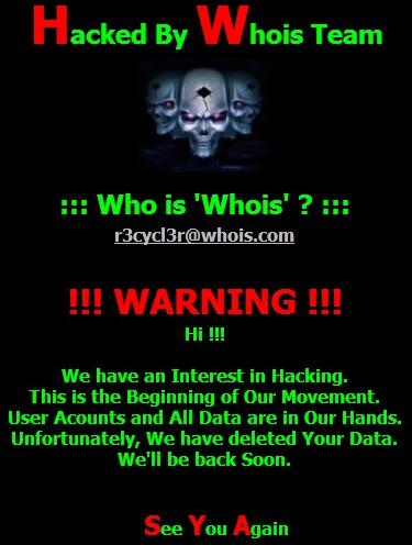 Whois team graphics and warning