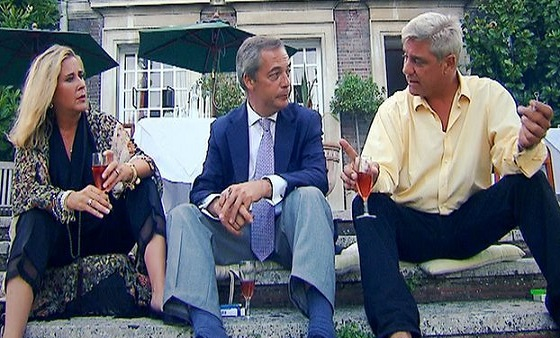 Nigel Farage with Stephanie and Dominic on Gogglebox special episode