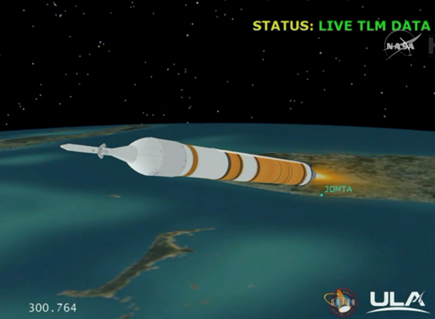 Live computer graphical data of the rocket bearing the Orion spacecraft travelling out of the Earth's atmosphere