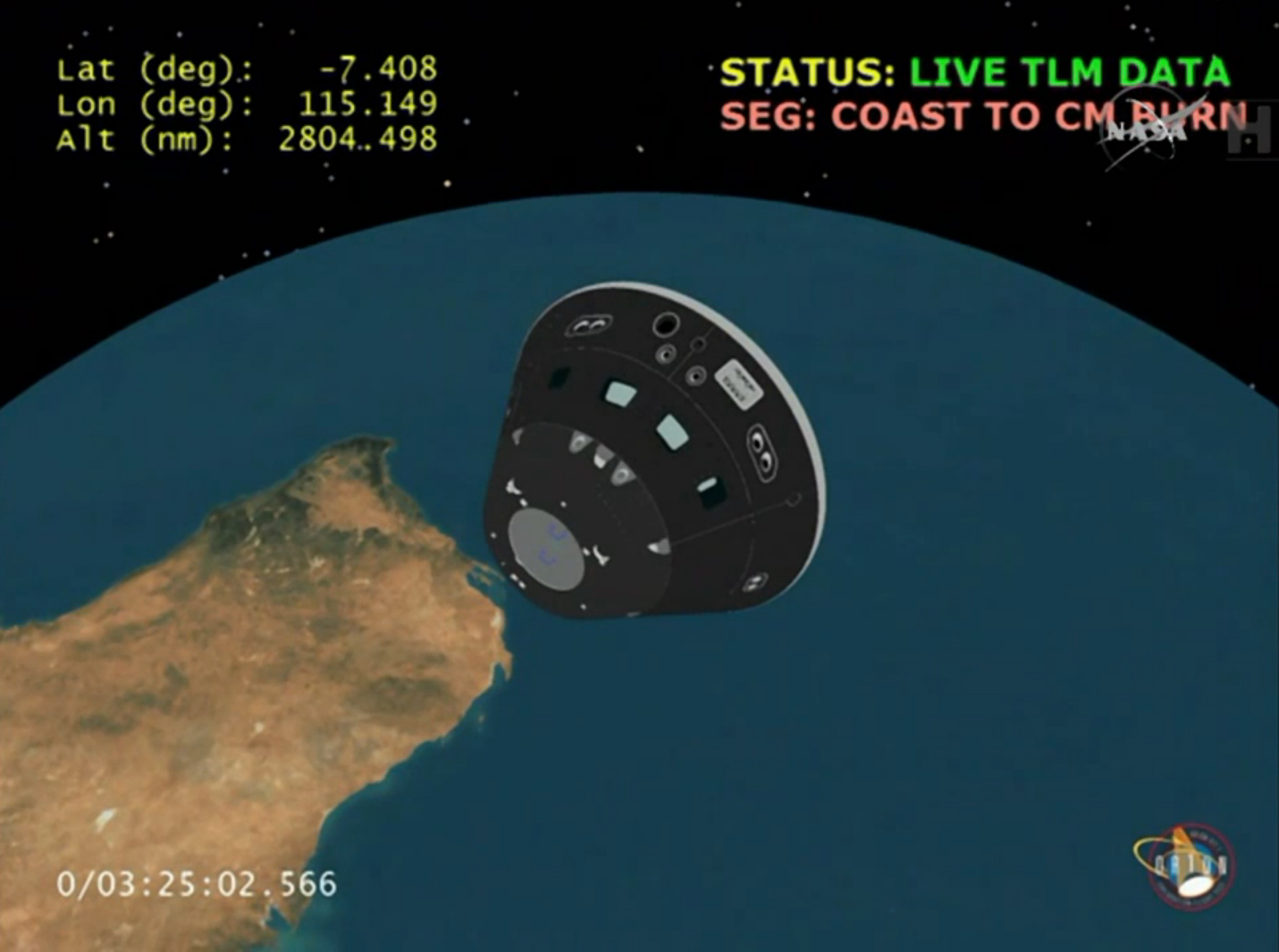 Orions crew module flying freely for the first time during its maiden voyage