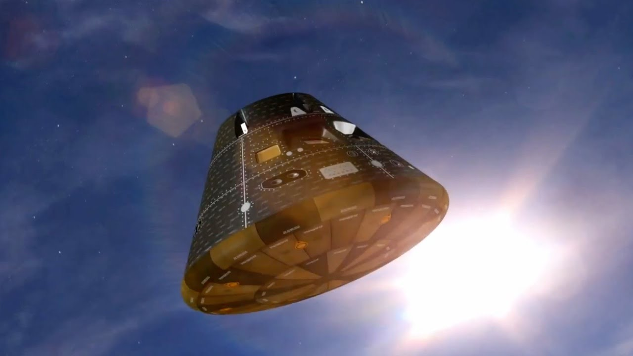 Nasas artistic impression of Orions crew module, which has just splashed down into the Pacific Ocean at 20 miles an hour