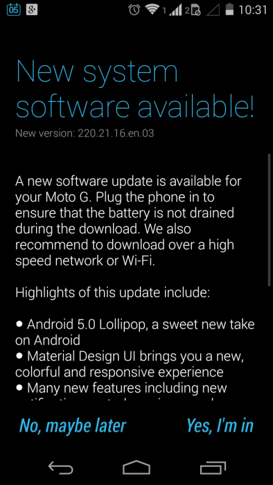 Android 5.0 seemingly begins rolling out to Moto G (2013) XT1033 smartphones, other variants to follow suit