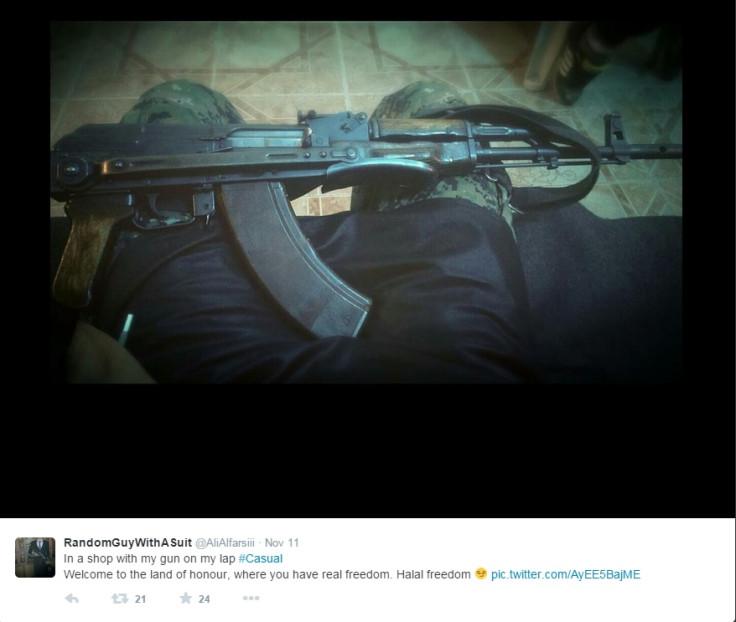 Ali al-Farsi shows off his gun