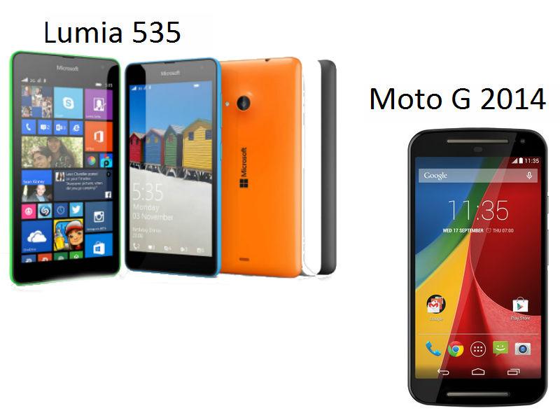 Microsoft Lumia 535 Dual SIM vs Motorola Moto G (2014): comparison of the value-for-money smartphones