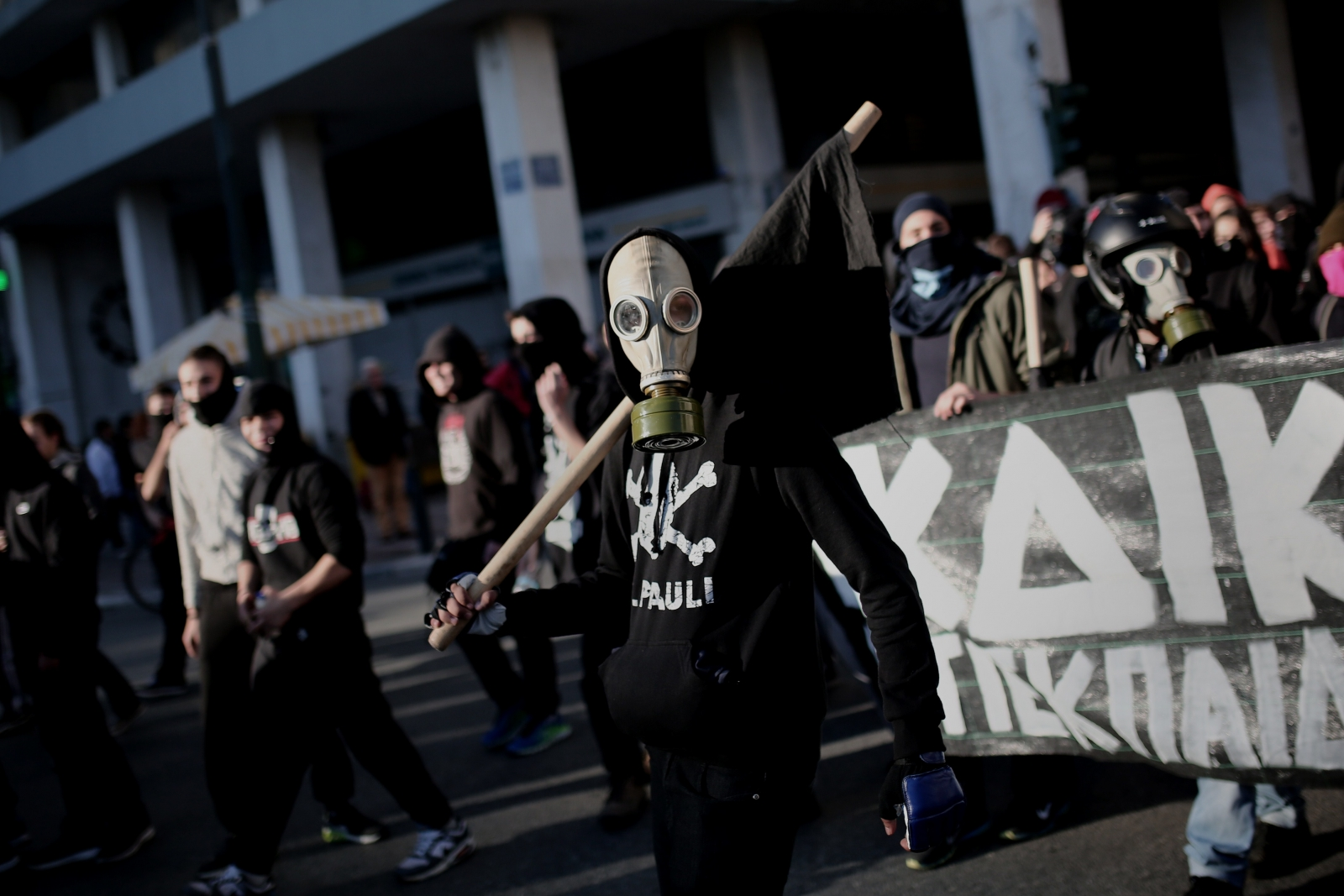 Protesters gather in Athens yesterday. (ANGELOS TZORTZINIS/AFP/Getty)