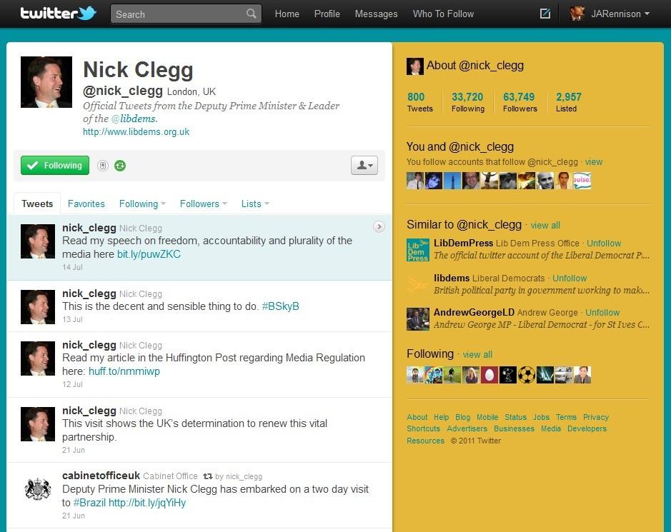 Nick Clegg's Twitter
