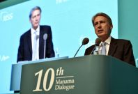 "Britain\'s Foreign Secretary Philip Hammond speaks during the 10th International Institute for Strategic Studies (IISS) Regional Security Summit ""The Manama Dialogue\"" in Manama"
