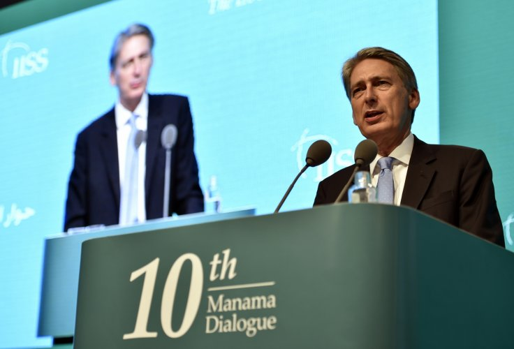 Britain's Foreign Secretary Philip Hammond speaks during the 10th International Institute for Strategic Studies (IISS) Regional Security Summit