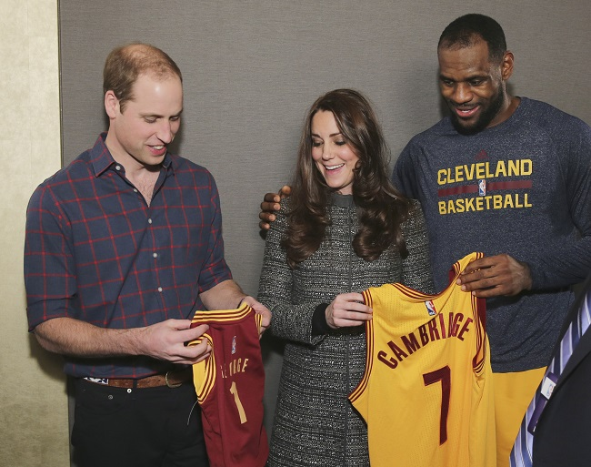 Duke and Duchess of Cambridge pose with LeBron James