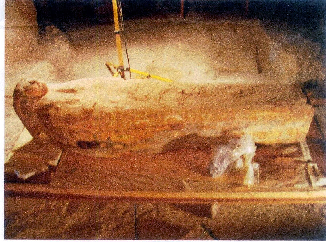 The sarcophagus of the singer of Amun, with a visible carved face on the coffin lid