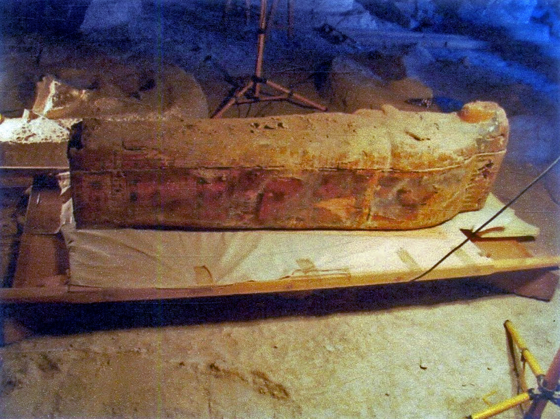 This image shows some of the hieroglyphs and pictures depicted on the sarcophagus