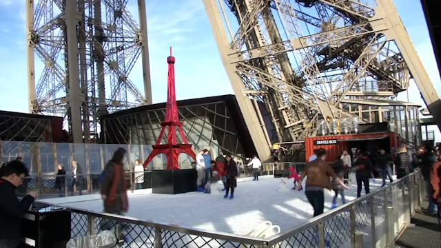 An unlikely spot for an ice rink: halfway up the Eiffel Tower
