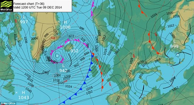Intense low pressure system of a weather bomb approaching the UK