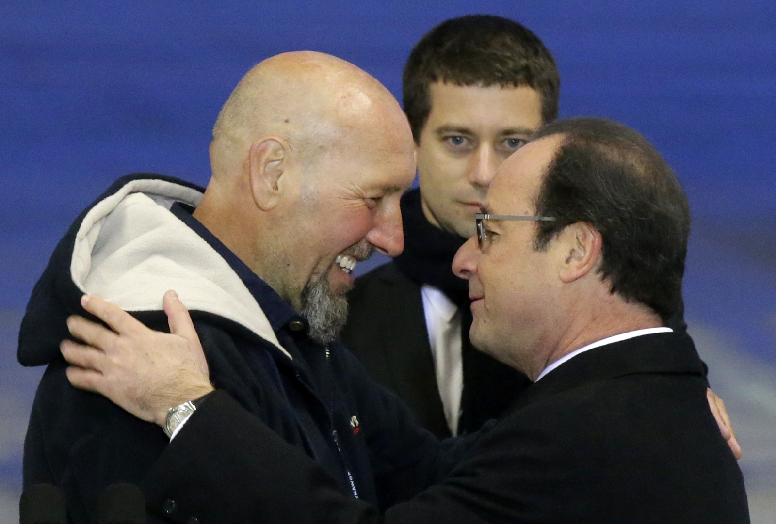 French President Francois Hollande  hostage Serge Lazarevic Villacoublay airport Paris.