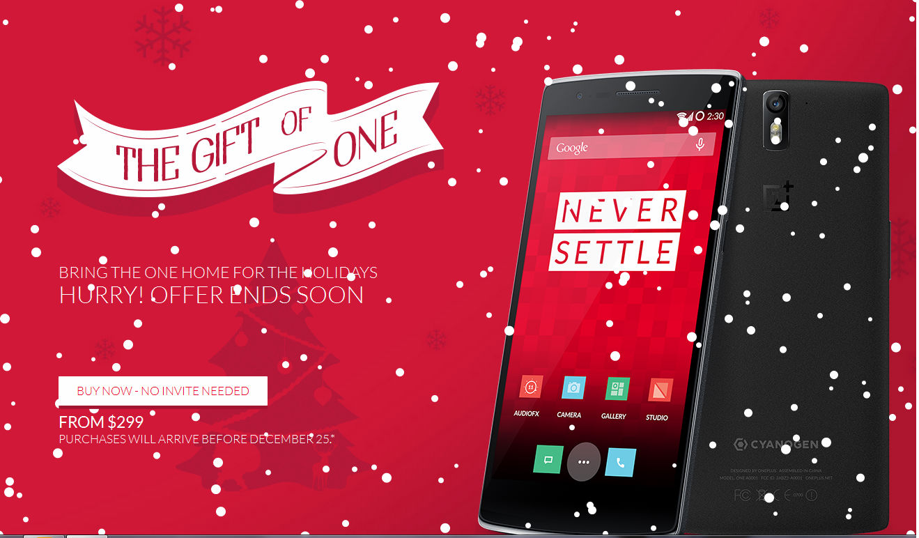 OnePlus One currently available to buy without the need of invites, orders to be shipped before 25 December