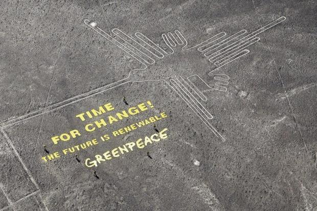 Greenpeace Nazca Lines  damaged Peru