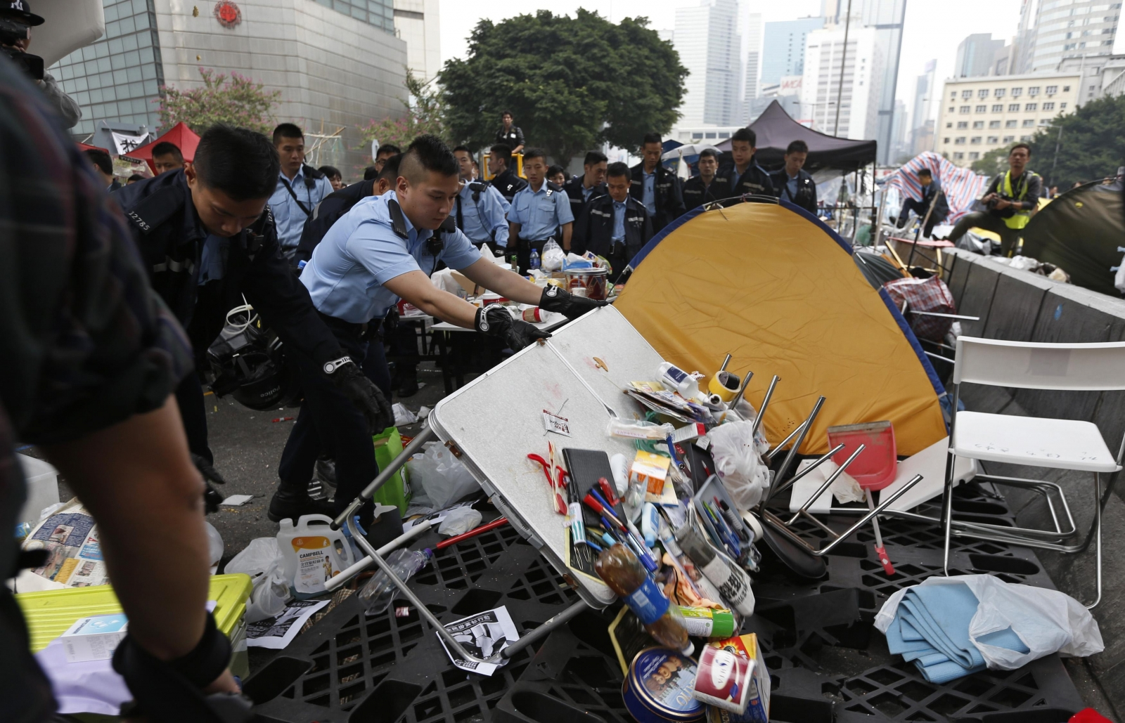 Hong Kong dismantles pro-democracy protest camp near finance district