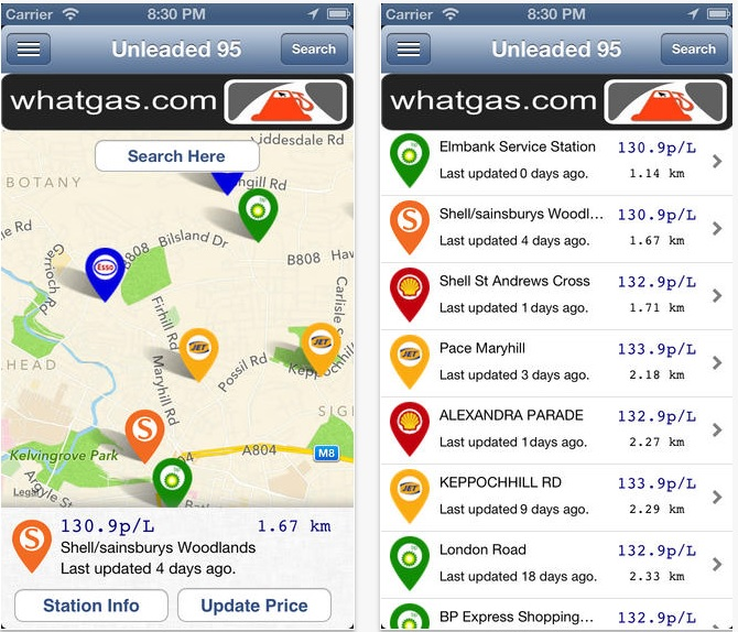 WhatGas petrol price iPhone app