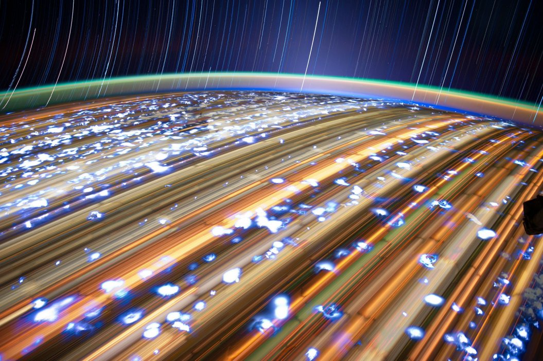 Star trails from meteor showers, captured at a really close distance