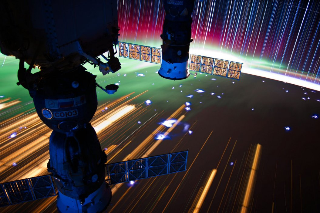 Star trails captured from the International Space Station