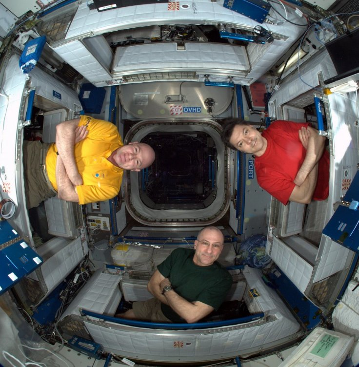Astronauts on the ISS: Anatoly Ivanishin (left), Don Pettit (centre) and Andre Kuipers (right)