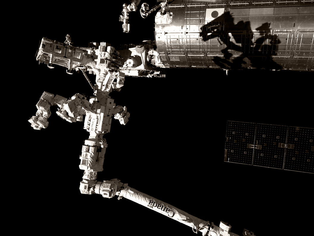 A close-up view of the ISS