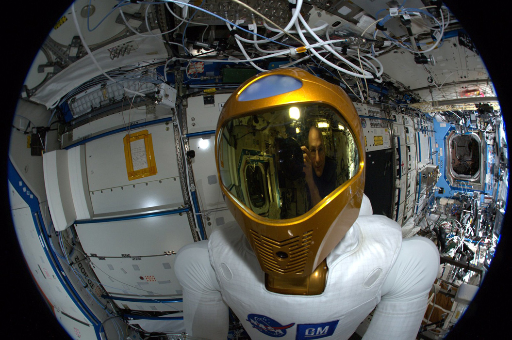 A close-up of the Nasa astronaut suit on the ISS