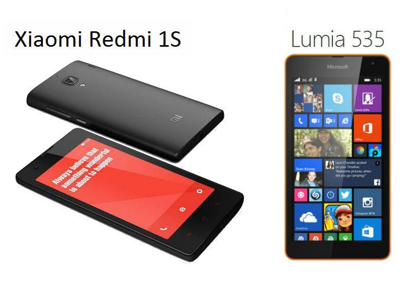 Microsoft Lumia 535 vs Xiaomi Redmi 1S: Comparison of the budget pure mid-rangers