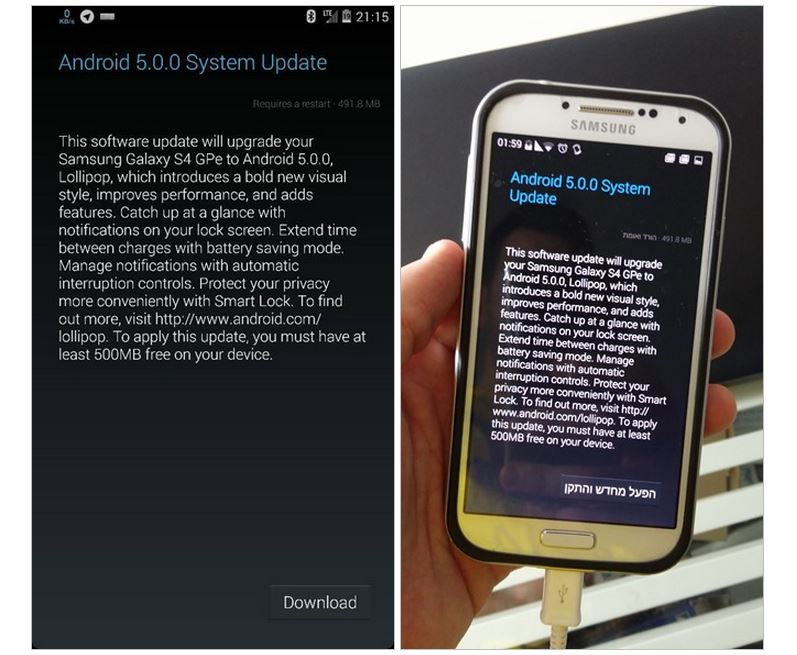 Android 5.0 Lollipop OTA finally arrives for Galaxy S4 Google Play Edition