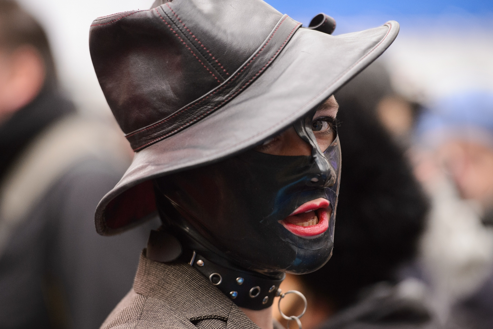 Protester at yesterday's porn protest in Westminster (Leon Neal/AFP)