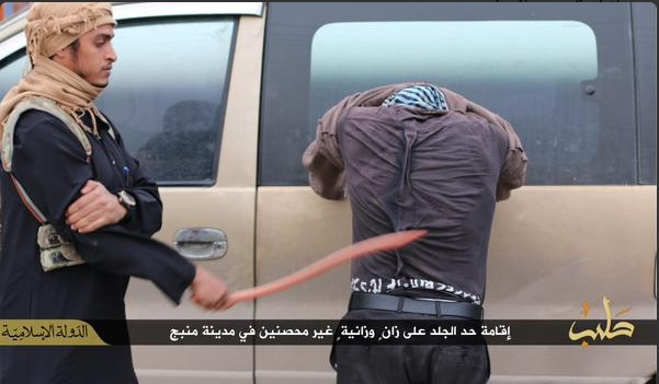 Man being whipped for committing adultery in Manbij, Syria