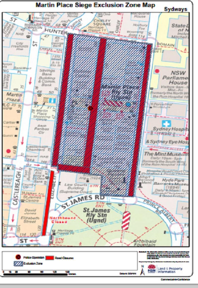 Sydney siege exclusion zone