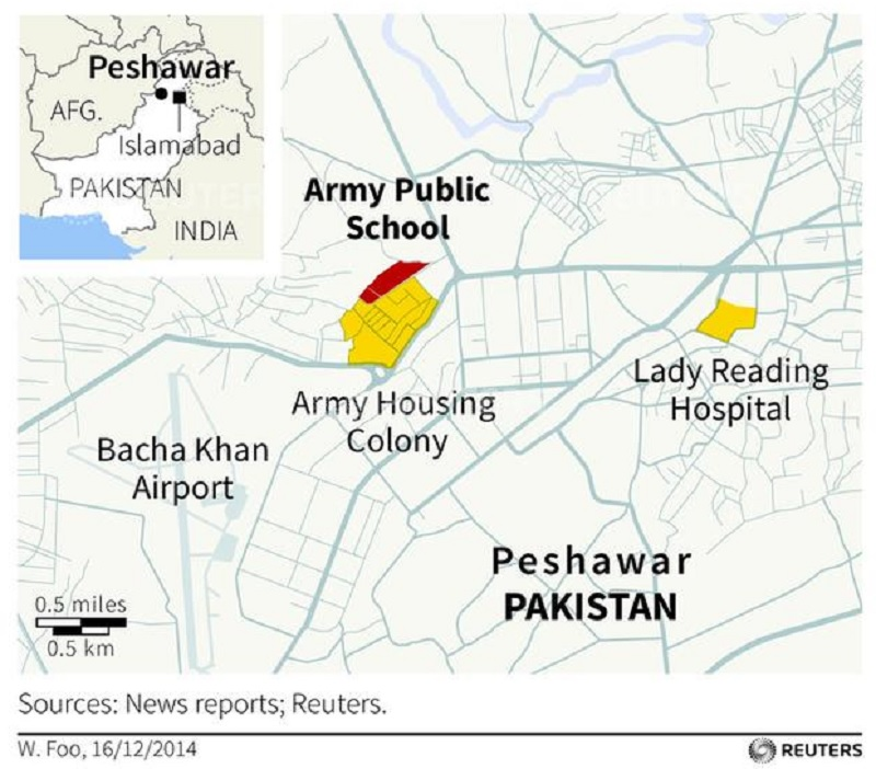 Peshawar school attack massacre at Pakistan school Taliban terrorists disguised as soldiers